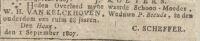 18070901 Overlijden Kelckhoven van, Wilhelmina Hendrina (rouwadv)