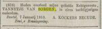18530107 Overlijden Sorge van, Tannetje (rouwadv)