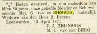 18710415 Overlijden Biesbos van de, Geertrui (rouwadv)