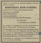 19820315 Overlijden Aukema, Berendina (fam.adv.)
