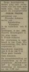 19681209 Overlijden Pronk, Jacob (fam.advertentie)