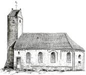 Drogeham, Walburga Kerk, 1848 getekend door A. Martin