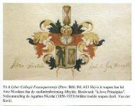 Atzo Nicolaus Wapen (tijdens studententijd) met tekst